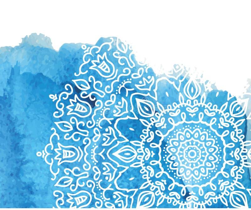 Голубая предпосылка краски акварели с белой рукой нарисованной вокруг doodles и мандал дизайн фона иллюстрация штока