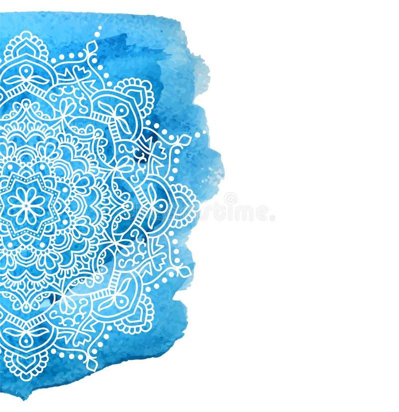 Голубая предпосылка краски акварели с белой рукой нарисованной вокруг doodles и мандал дизайн фона иллюстрация вектора