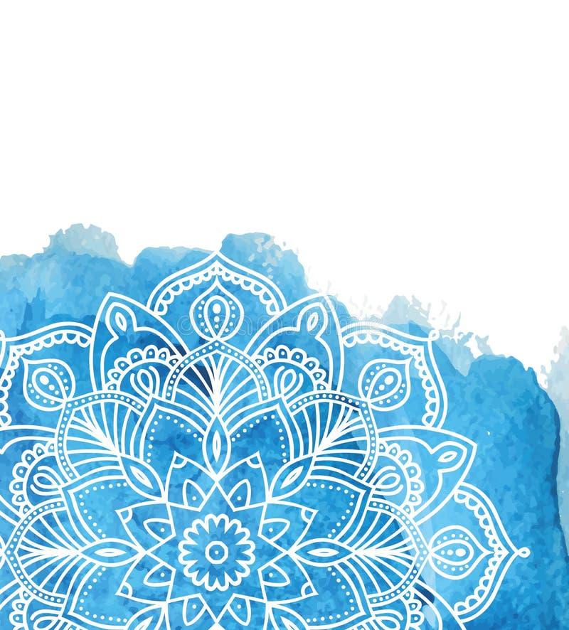 Голубая предпосылка краски акварели с белой рукой нарисованной вокруг doodles и мандал дизайн фона бесплатная иллюстрация