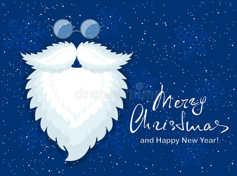 Голубая предпосылка рождества с бородой и стеклами Санты иллюстрация вектора