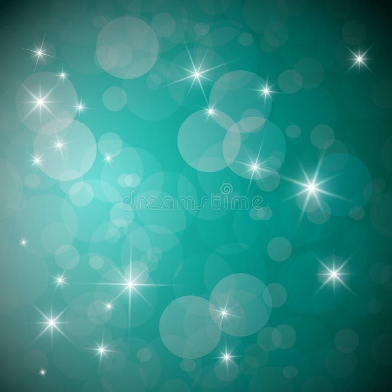 Голубая предпосылка со звездами и прозрачными кругами иллюстрация штока