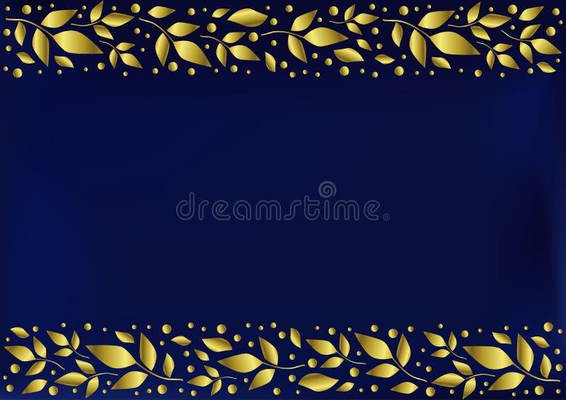 Голубая предпосылка стилизованная как бархат с декоративными нашивками выравнивает верхнее и внизу с золотыми листьями и точками бесплатная иллюстрация