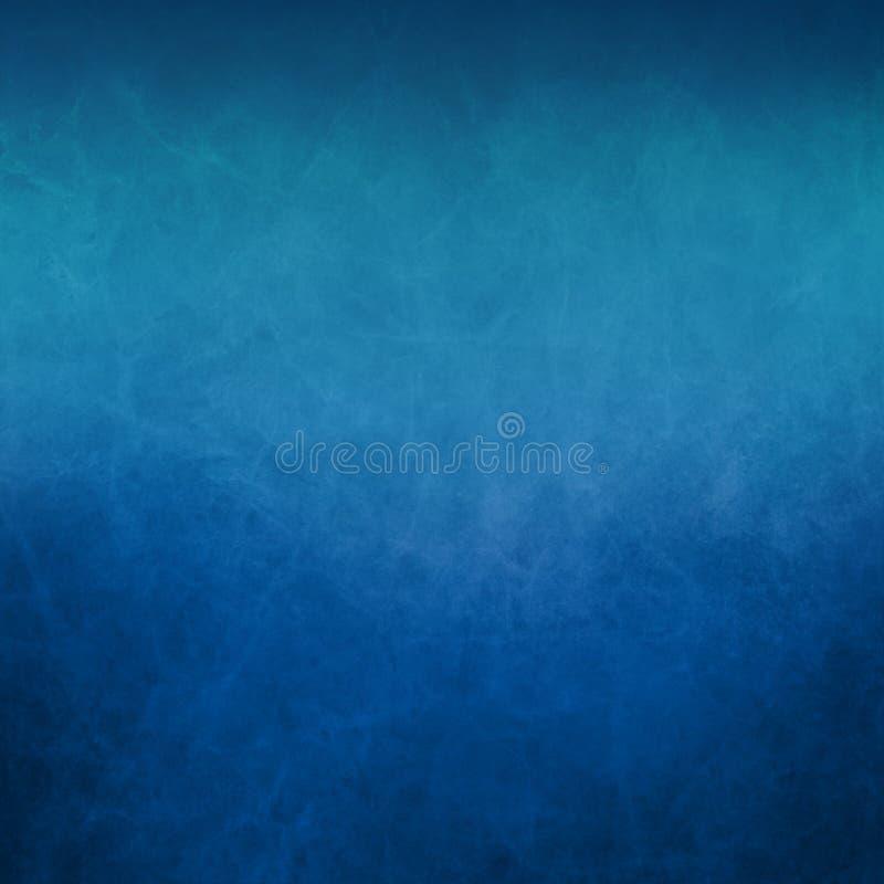 Голубая предпосылка с мягкой светлой верхней границей и старый огорченный винтажный grunge текстуры на нижней границе иллюстрация штока