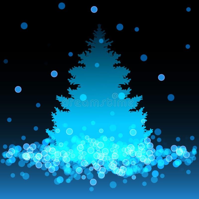 Голубая предпосылка с рождественской елкой и bokeh бесплатная иллюстрация