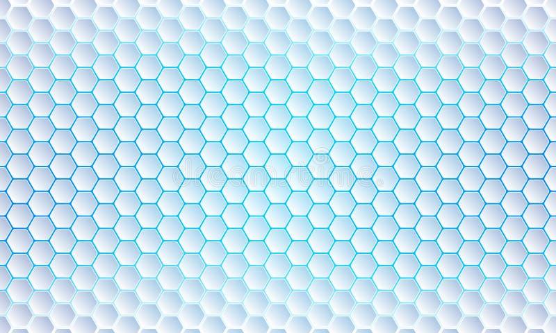 Голубая предпосылка шестиугольника, современный конспект, футуристическая геометрическая предпосылка вектора