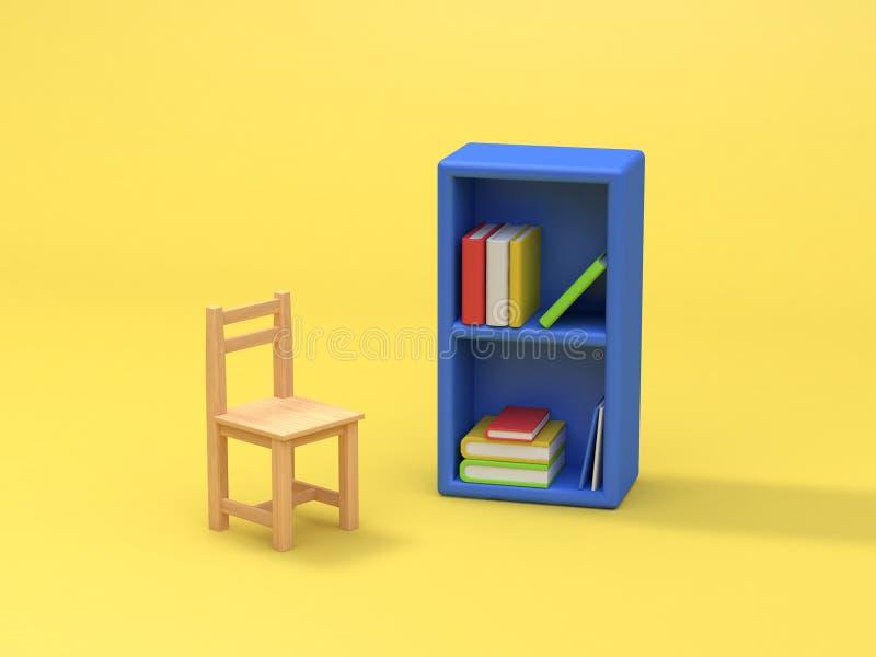 Голубая предпосылка 3d книжных полков и стула желтая представить иллюстрация штока
