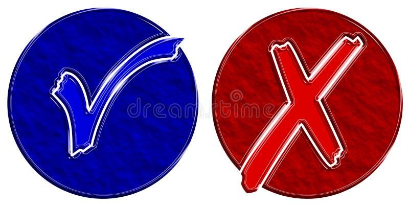 голубая проверка объезжает красный цвет стоковые фото