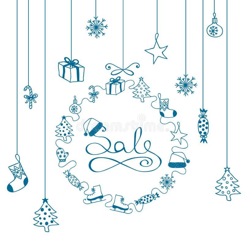 Голубая ПРОДАЖА знамени рождества с нарисованными вручную элементами шаржа на белой предпосылке иллюстрация вектора