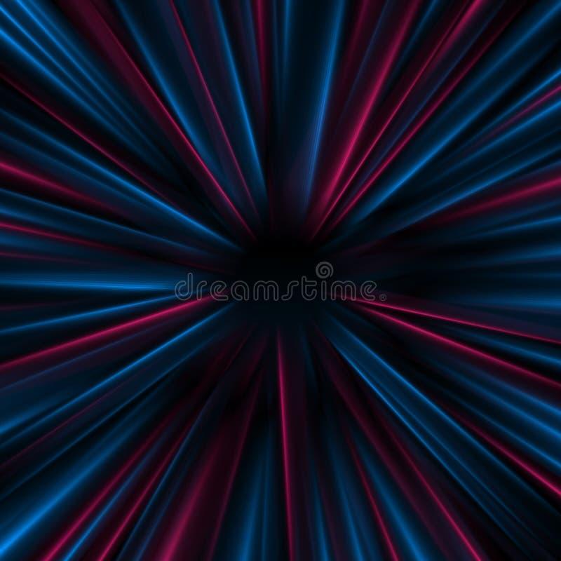 Голубая пурпурная накаляя предпосылка вектора лучей конспекта ровная неоновая иллюстрация штока