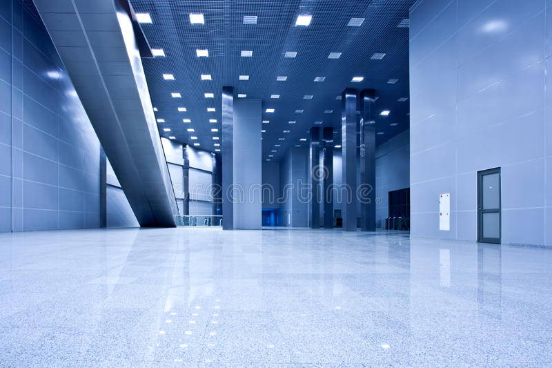 голубая пустая зала стоковое изображение rf