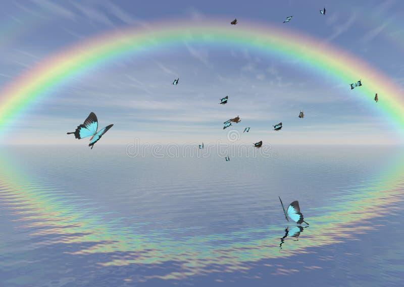 голубая радуга павлина бабочек иллюстрация вектора