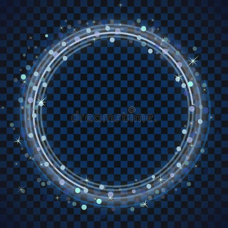 Голубая рамка кольца Круг яркого блеска с ярким сверкнает Световой эффект с рамкой круга, светящий завихряться вектор иллюстрация вектора