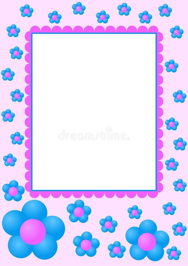 голубая рамка цветков иллюстрация вектора