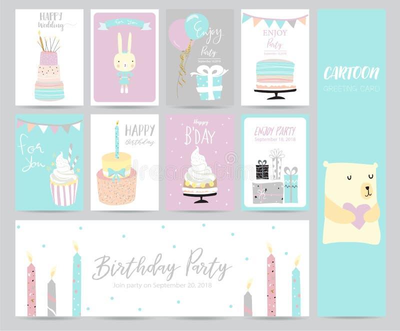 Голубая розовая пастельная поздравительная открытка бесплатная иллюстрация