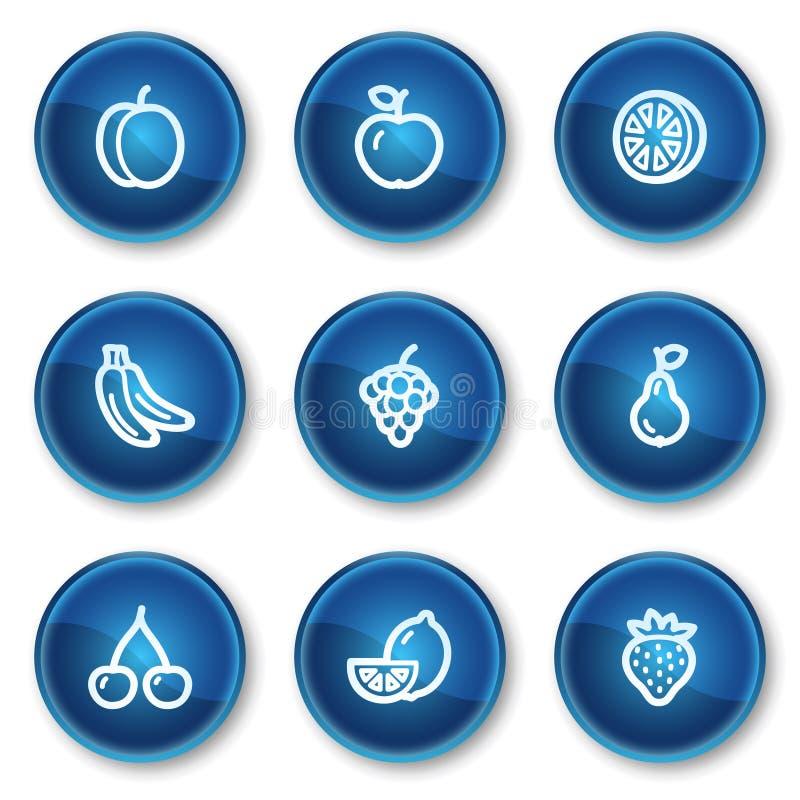 голубая сеть икон плодоовощей круга кнопок иллюстрация вектора