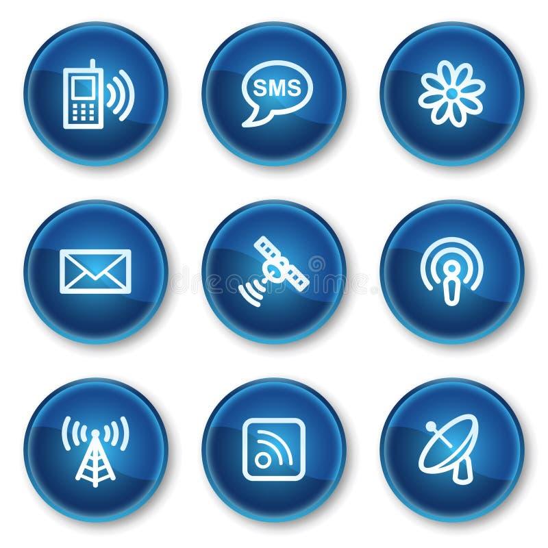 голубая сеть икон связи круга кнопок бесплатная иллюстрация