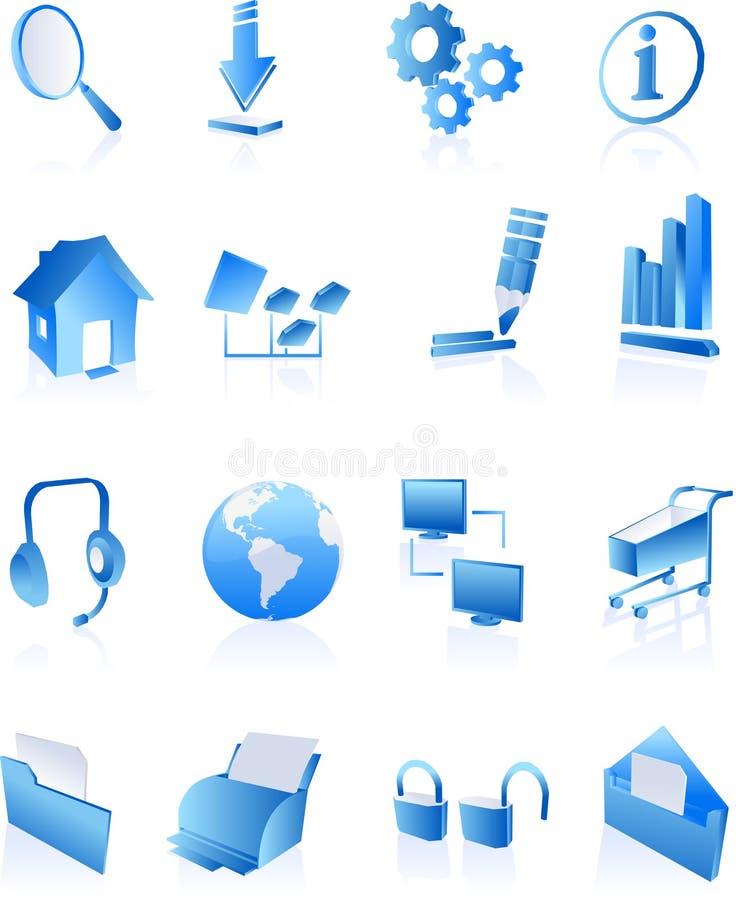 голубая сеть интернета икон иллюстрация вектора