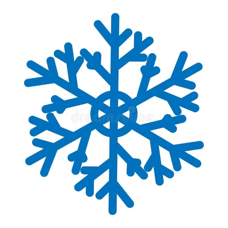 Голубая снежинка вектора изолированная на белой предпосылке Плоский значок с темой рождества и зимы Простой символ снега иллюстрация вектора