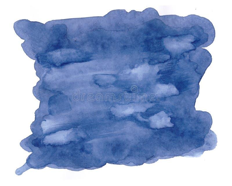 Голубая современная предпосылка с выплеском акварели Творческий фон с реалистическим пятном и место для текста стоковое фото rf