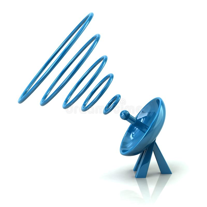 Голубая спутниковая иллюстрация параболической антенны 3d бесплатная иллюстрация