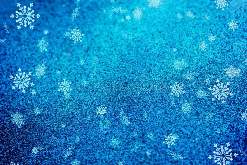 Голубая текстура снега предпосылки рождества, абстракция, снежинки иллюстрация штока