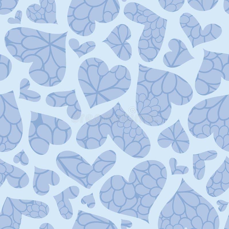 Голубая текстурированная картина вектора сердец безшовная бесплатная иллюстрация
