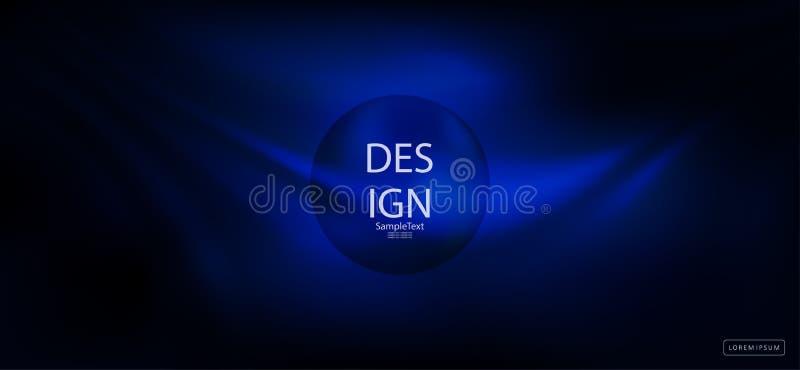 Голубая темная абстрактная предпосылка с силуэтом круглой рамки иллюстрация штока