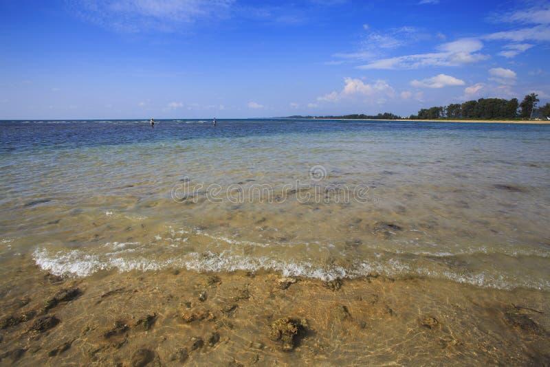 Голубая тропическая вода вокруг кораллового рифа стоковые фотографии rf