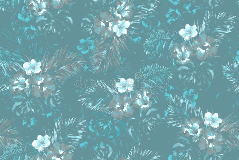 Голубая тропическая картина листьев на синей предпосылке Watercolour цветет и ладонь выходит иллюстрация картины иллюстрация штока