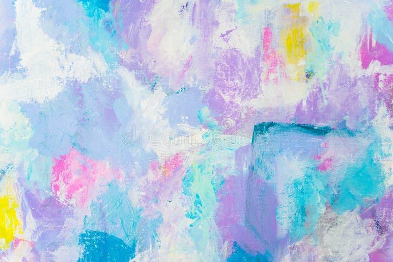 Голубая фиолетовая абстрактная рука покрасила предпосылку холста, текстуру Красочный текстурированный фон стоковая фотография rf