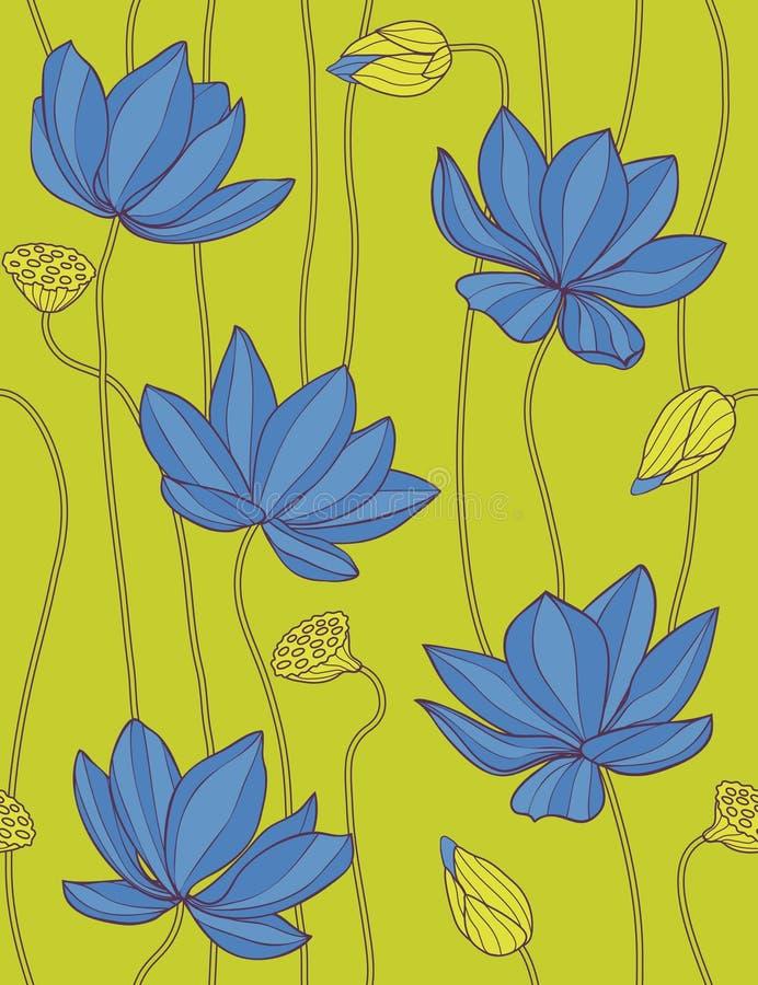 голубая флористическая картина лотоса безшовная бесплатная иллюстрация