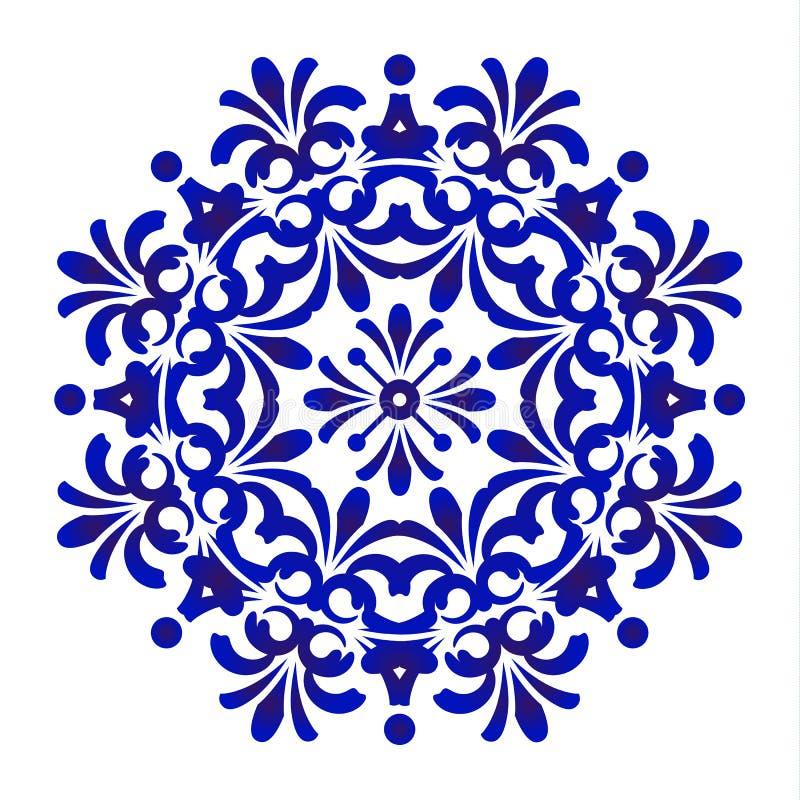 Голубая флористическая картина мандалы бесплатная иллюстрация