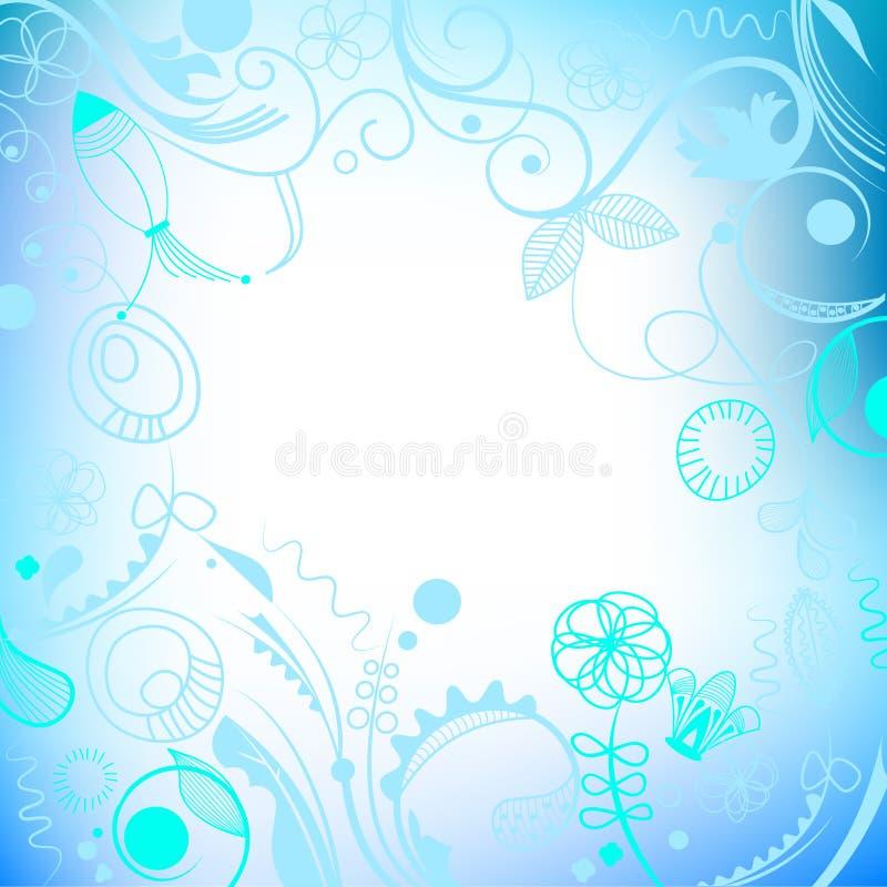 голубая флористическая рамка иллюстрация штока