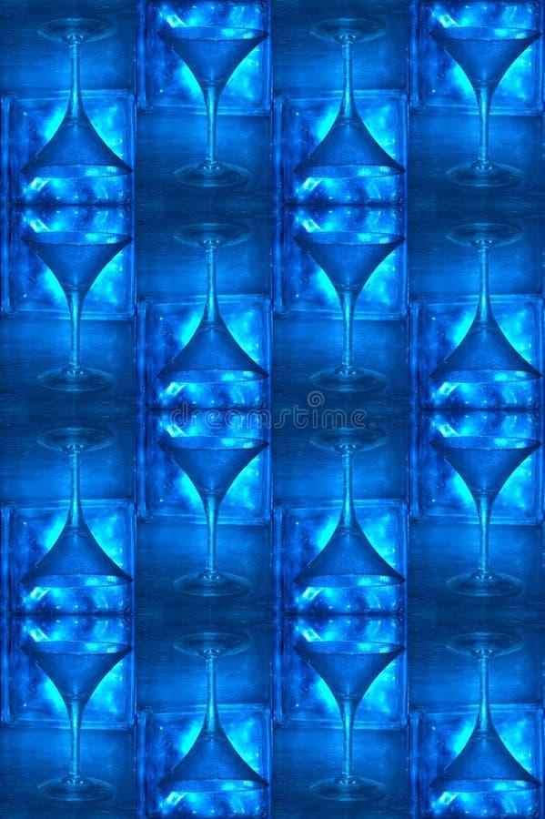 голубая холодная стеклянная картина martini стоковые фото