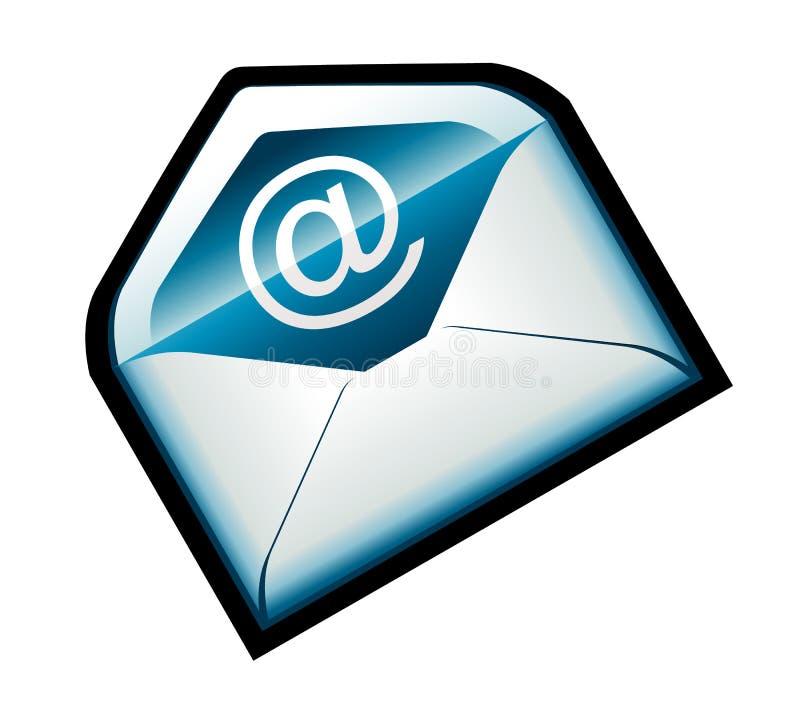 голубая цветастая икона электронной почты иллюстрация вектора