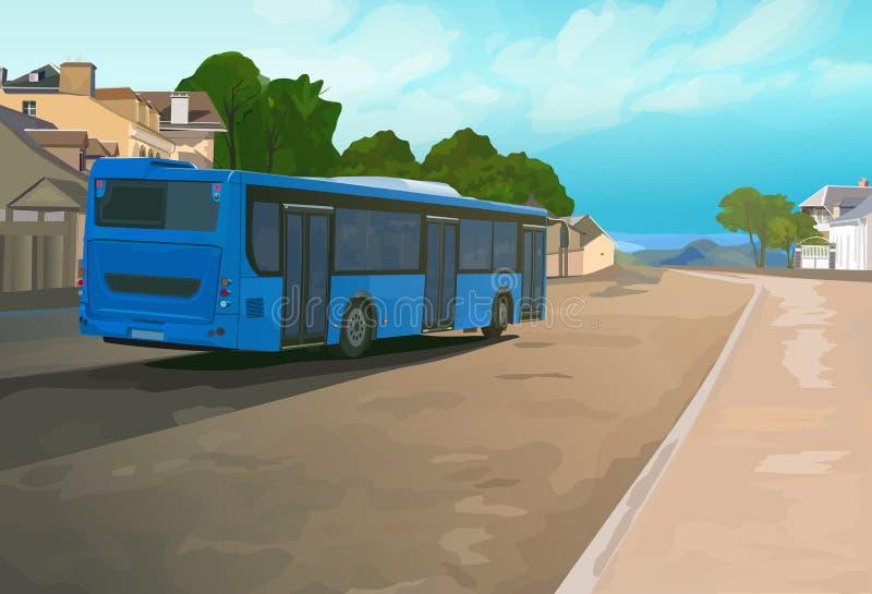 Голубая шина в городке иллюстрация вектора