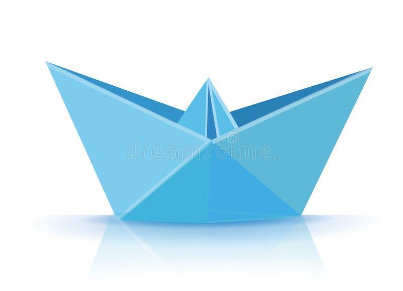 Голубая шлюпка origami иллюстрация штока