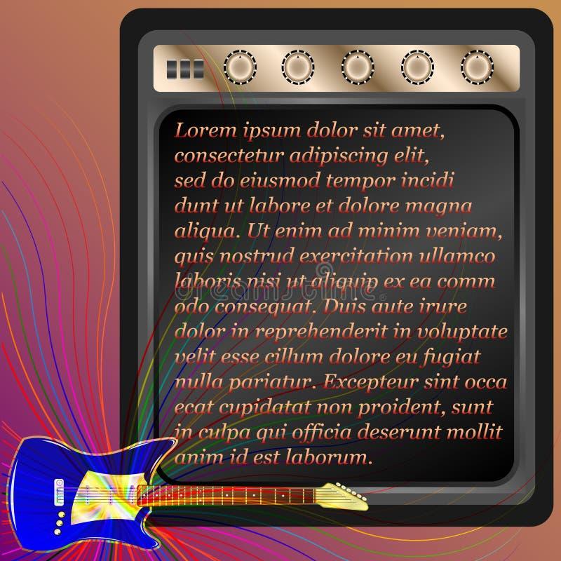Голубая электрическая гитара и комбинированный amp бесплатная иллюстрация