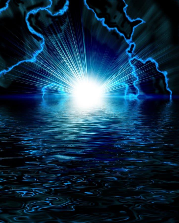 голубая яркая внезапная молния иллюстрация штока