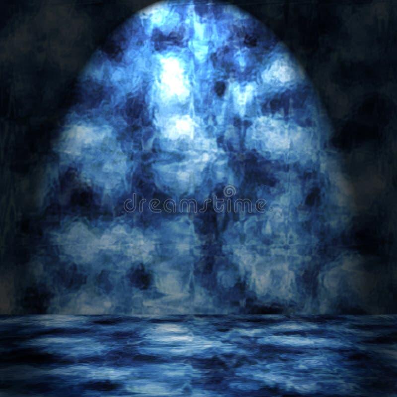 голубая grungy комната бесплатная иллюстрация