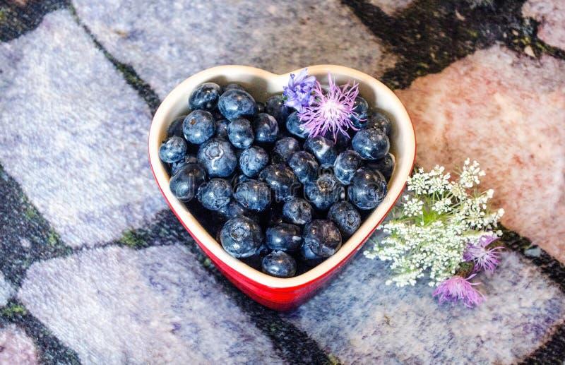 Голубики в ramekin сердца на шифере стоковое изображение rf