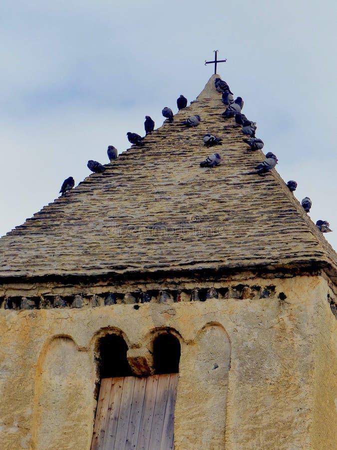 Голуби в старой колокольне около креста стоковые изображения