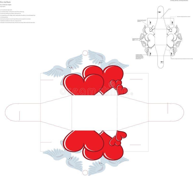 Голуби и сердца благоволят к шаблону коробки бесплатная иллюстрация