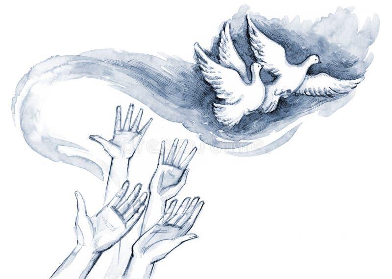 голуби иллюстрация вектора