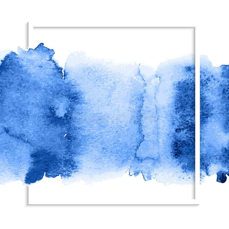 Голубое абстрактное пятно акварели иллюстрация вектора