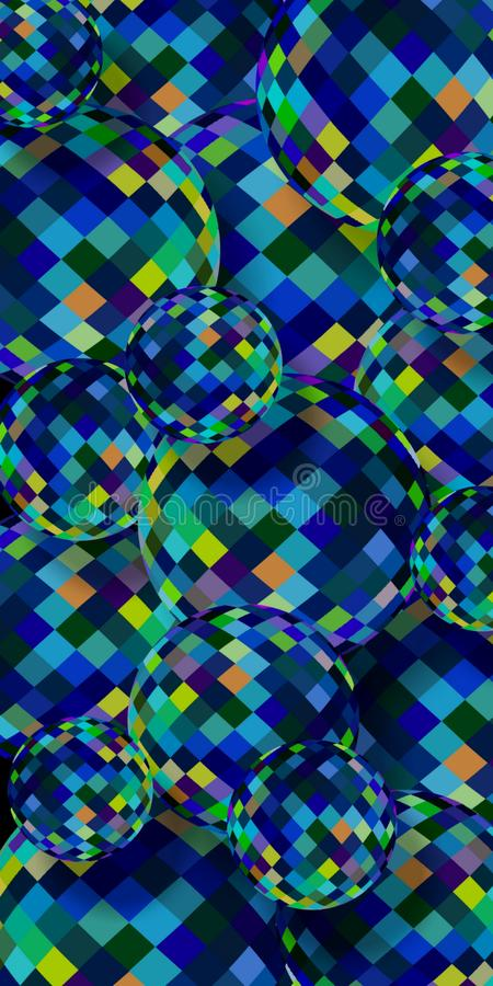 Голубое желтое зеленое стеклянное знамя шариков 3d вертикальное Сферы яркости резюмируют предпосылку иллюстрация штока