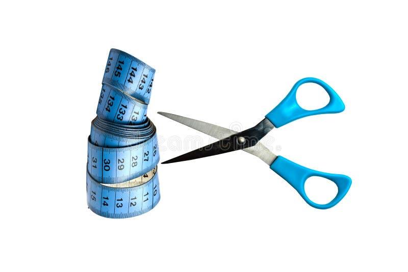 голубое измерение scissor лента стоковое фото