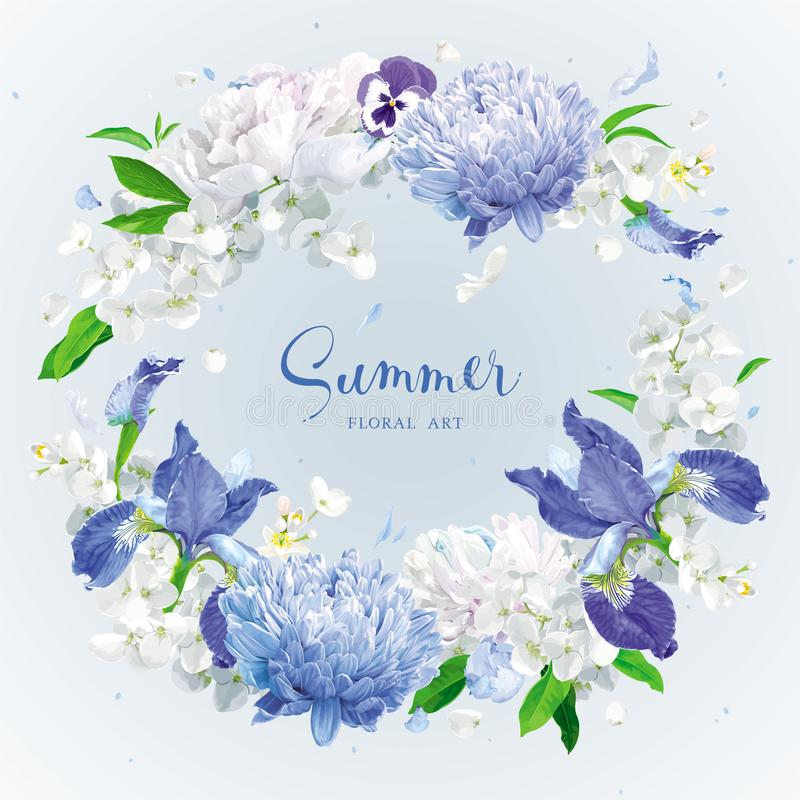 Голубое лето цветет венок бесплатная иллюстрация