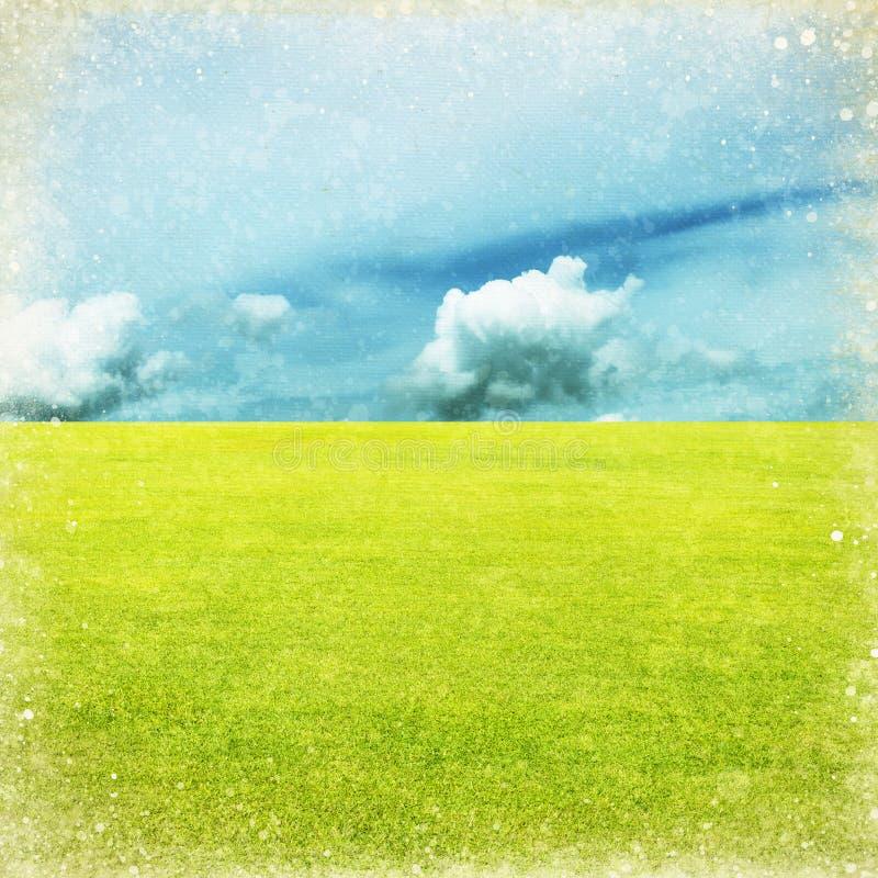 голубое небо зеленого цвета поля иллюстрация вектора