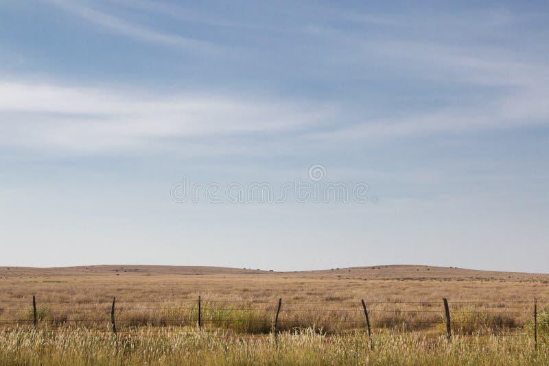Голубое небо над полем в Midwest стоковое изображение rf
